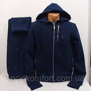 Тёплый турецкий спортивно-прогулочный костюм FORE  оригинал брюки прямые втачной капюшон 70 хлопок