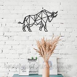 Декоративное панно из дерева. Декор на стену. Бык