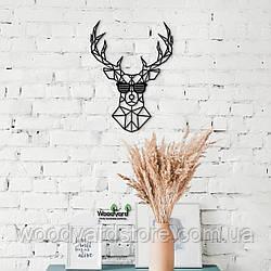 Декоративное панно из дерева. Декор на стену. Олень в очках