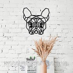 Декоративное панно из дерева. Декор на стену. Бульдог