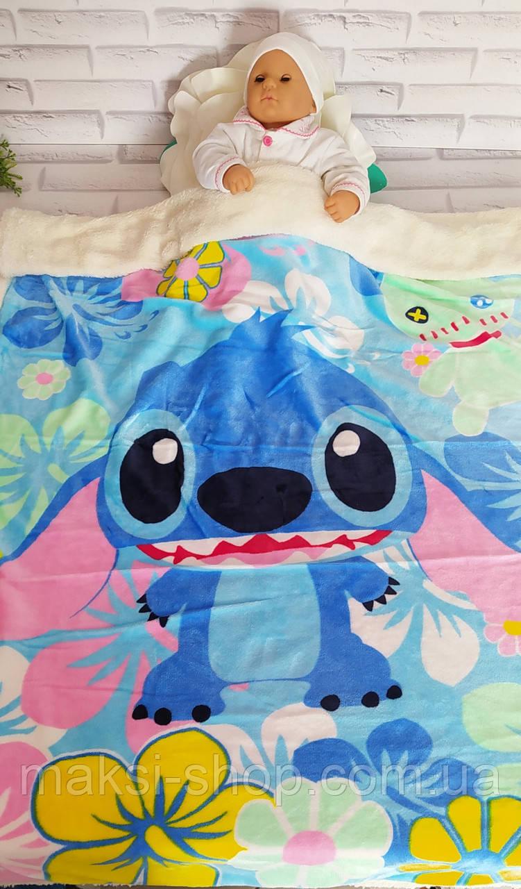 Одеяло детское р. 95х135 см микрофибра с мехом двустороннее в кроватку и коляску Х-357