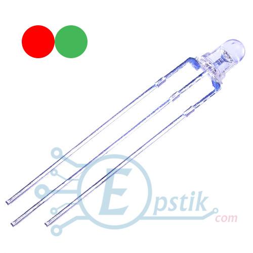 Двоколірний світлодіод матовий червоний,зелений, 3мм., (ОК)