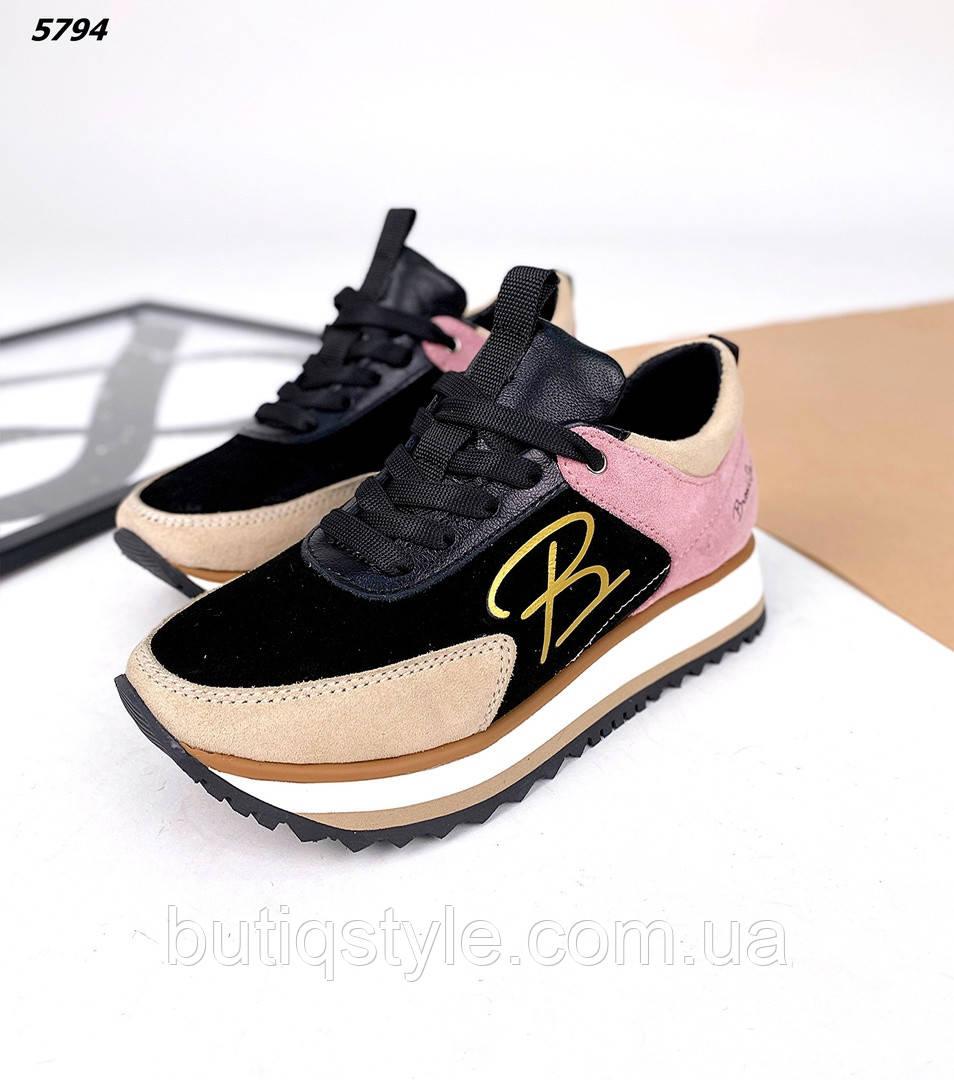 Женские кроссовки черный+розовый натуральная кожа + замша