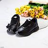 Повсякденні шкіряні чорні жіночі молодіжні кросівки натуральна шкіра, фото 5