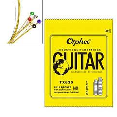 """Набір з 6 струн для акустичної гітари, 11-52"""", 0.28-1.32 мм, Orphee TX630"""