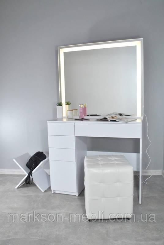 Визажный стол для макияжа на одну тумбу с LED подсветкою и системой открытия от нажатия