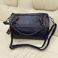 Женская синяя кожаная сумка Турция