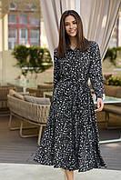 Свободное повседневное платье с пышной юбкой 42-48 размер разные цвета