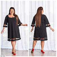 Красивое однотонное платье свободного кроя из креп-дайвинга с сеткой р: 50-52, 54-56, 58-60, 62-64 арт. 8444