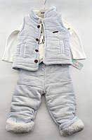 Комбінезон для новонароджених 3, 6, 9, 12, 18 місяців Туреччина теплий для хлопчиків блакитний (КНК23)