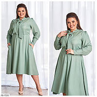 Сдержанное однотонное приталенное расклешенное платье из с карманами р: 50-52, 54-56, 58-60, 62-64 арт. 8446