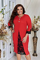 Елегантне плаття полуприталенного силуету з креп-дайвінгу з гіпюром р:48,50,52, 54, 56, 58, 60, 62 арт. 3302