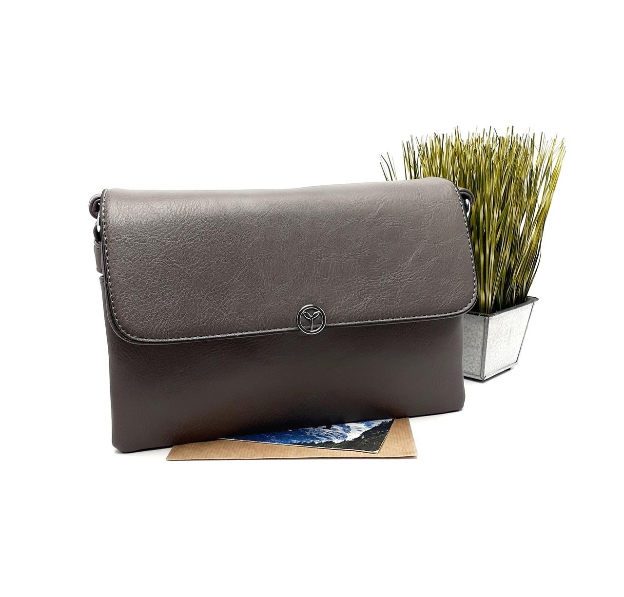 Жіноча сумка клатч із шкірозамінника сірий Арт.F-60425 Weiliya (Китай)