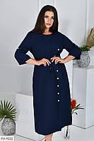 Приталенное сдержанное однотонное платье с завязками и декором пуговицами миди р: 50-52, 54-56, 58-60 арт. 208