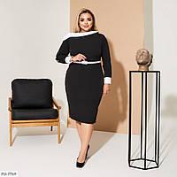 Приталенное деловое батальное платье из костюмной ткани с открытым плечом р: 48-50, 52-54, 56-58 арт. 059
