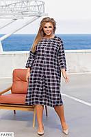 Стильне трикотажне повсякденне плаття вільного покрою в клітку Розмір: 50, 52, 54, 56 арт. 2079