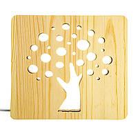 """Світильник нічник ArtEco Light з дерева LED """"Деревце"""" з пультом та регулюванням світла, колір теплий білий, фото 1"""