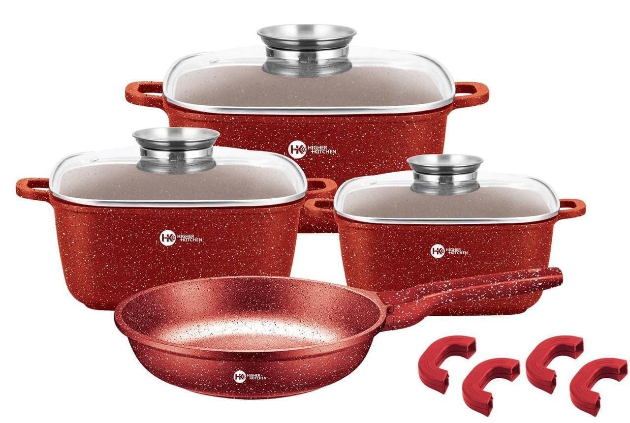 Набір каструль і сковорода Higher Kitchen HK-312, Набір посуду з гранітним антипригарним покриттям ЧЕРВОНИЙ