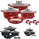 Набір каструль і сковорода Higher Kitchen HK-312, Набір посуду з гранітним антипригарним покриттям ЧЕРВОНИЙ, фото 3