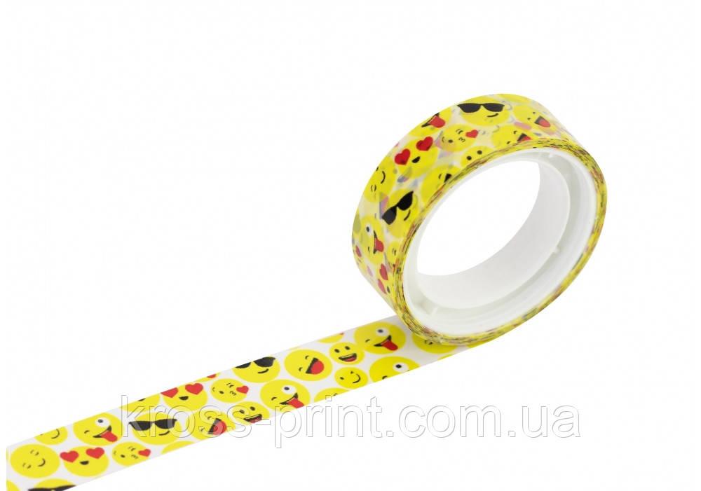 """Стрічка декоративна з печаткою """"Смайли"""", ширина 12 мм, довжина 5 м"""