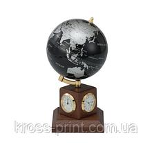 Глобус (10.6см) black silver на дер. подст. метеостанция
