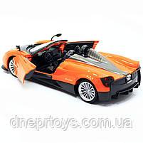 Машинка іграшкова Автопром «Pagani Huayra roadster», 18 см, світло, звук, помаранчевий (68264B), фото 6