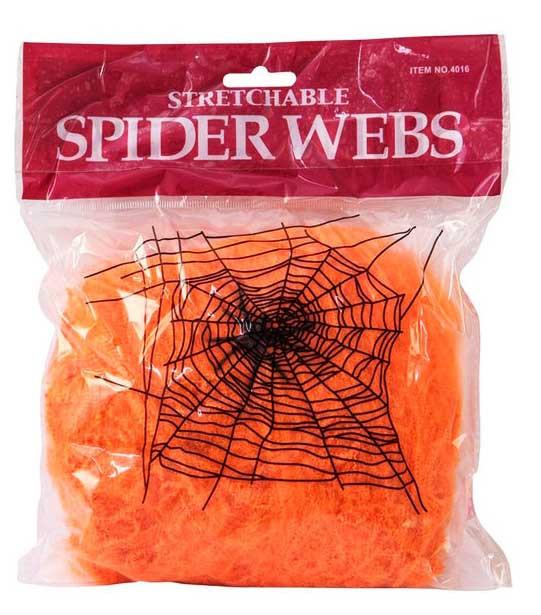 Паутина на хэллоуин  с пауками оранжевая