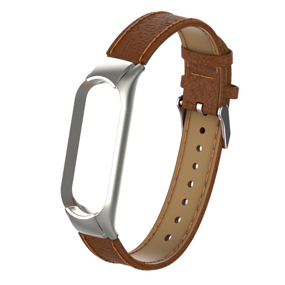 Ремешок для фитнес браслета Steel-Leather design bracelet for Xiaomi Mi Band 3 Brown