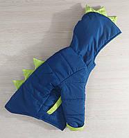 """Демисезонная курточка для маленьких мальчиков """"Дино"""" синий с салатовым однотон 80-98"""