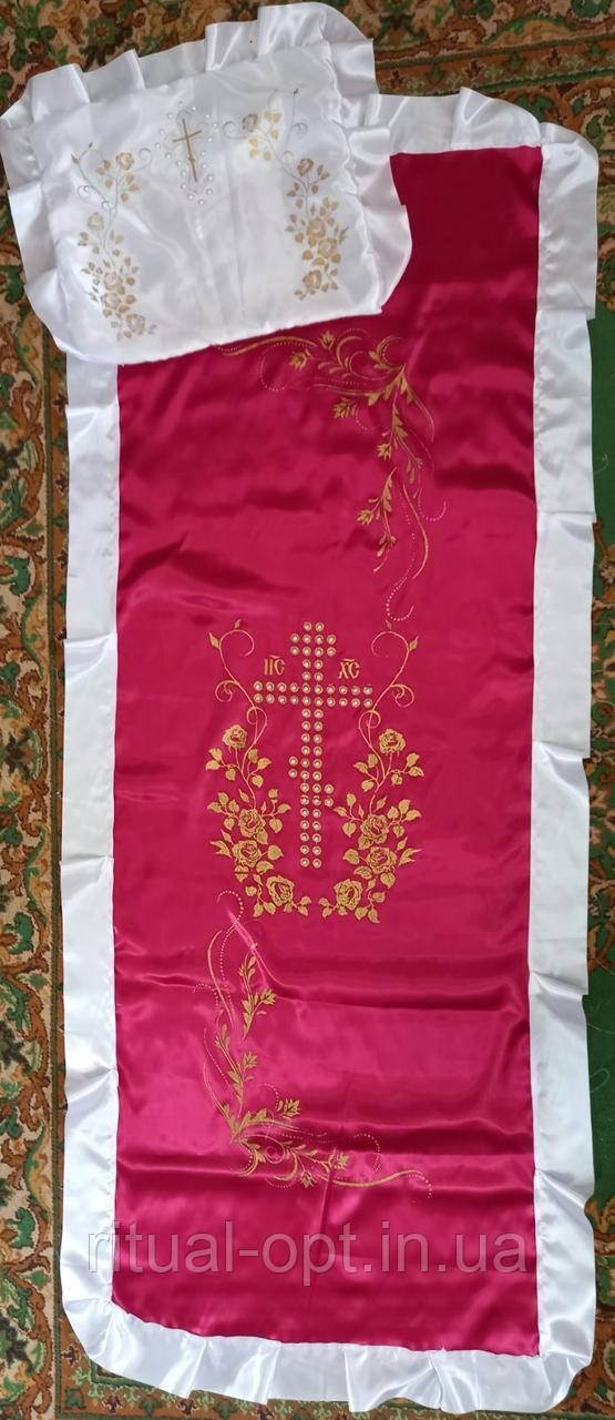 Комплект крест из жемчуга бордовый