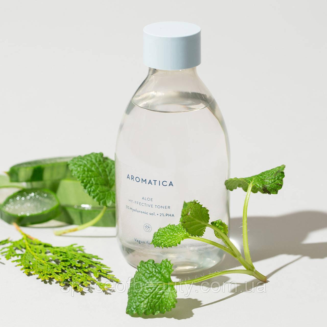 Тонер с гиалуроновой 5% и PHA 2% кислотой Aromatica Aloe Hy-ffective Toner 200 ml