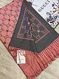 Брендовый двухсторонний шерстяной палантин Gucci коралловый с серым 180х65 см (цв.3), фото 4