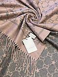 Двухсторонний шерстяной палантин Gucci грязно-розовый с серым 180х65 см (цв.4), фото 2