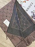 Двухсторонний шерстяной палантин Gucci грязно-розовый с серым 180х65 см (цв.4), фото 3