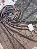 Двухсторонний шерстяной палантин Gucci грязно-розовый с серым 180х65 см (цв.4), фото 4