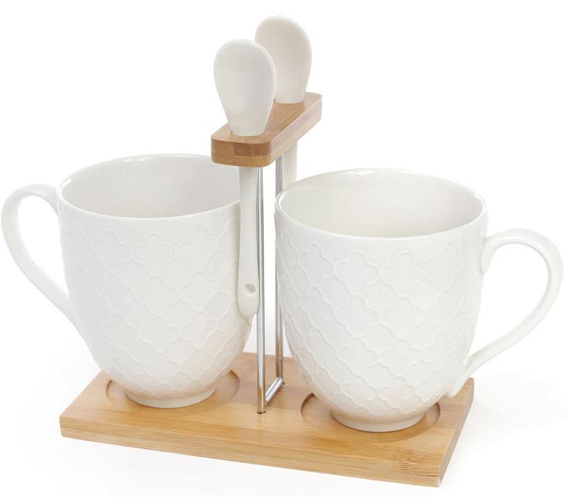 Набір 2 чашки Ceram-Bamboo за 310мл з ложками на підставці