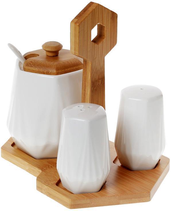 Набор для специй Nouvelle Home Coutle сахарница и 2 спецовника на подставке