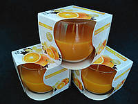 Свечи ароматизированные в стакане Bispol Польша Апельсин с ванилью