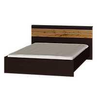 Кровать двуспальная Соната-1400 (1533х2112х805) ВЕНГЕ+ДУБ КРАФТ ЗОЛОТОЙ