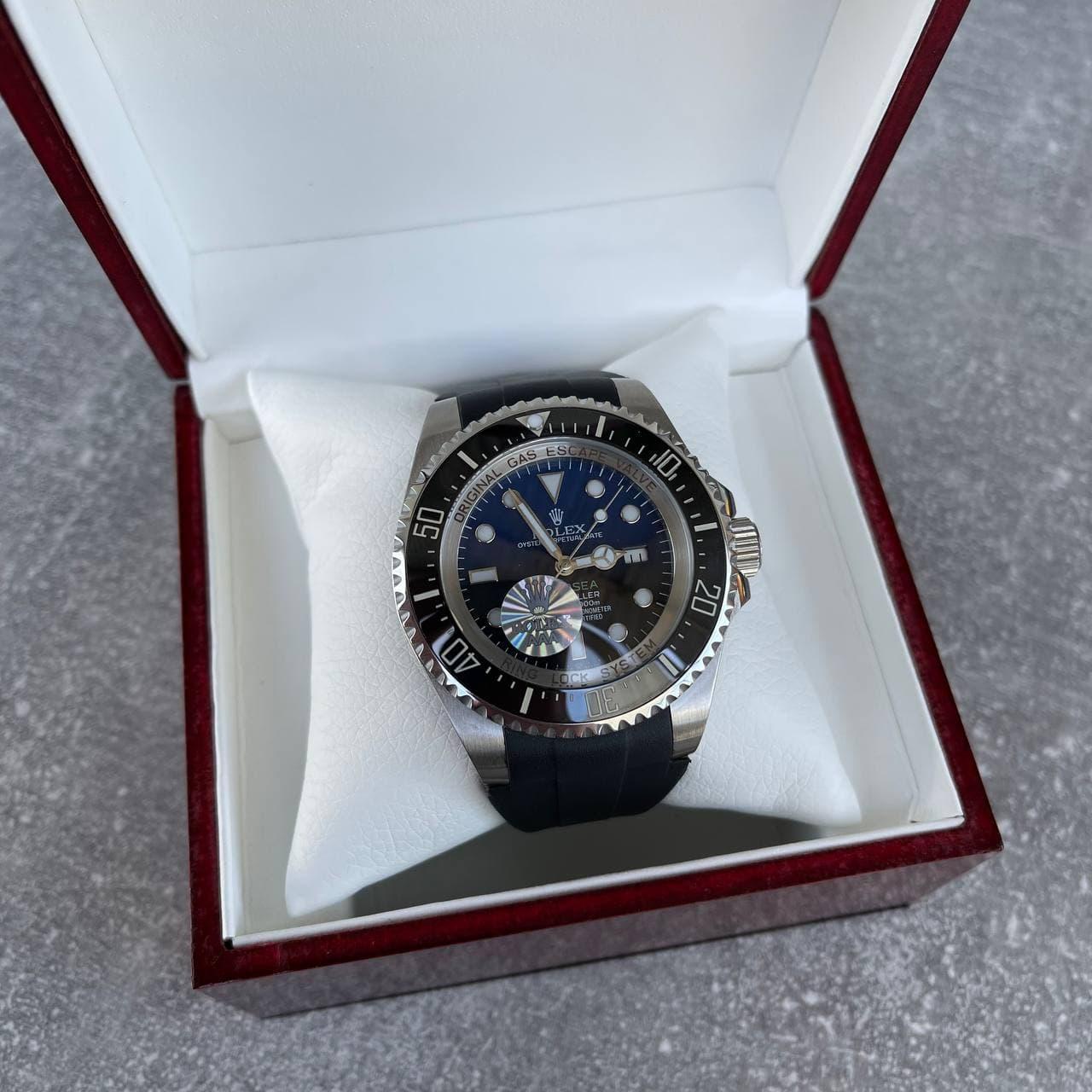 Часы наручные Rolex Deepsea Sea-Dweller Black-Silver-Black-Blue премиального ААА класса