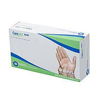 Перчатки виниловые размер S - Care365premium, неопудренные одноразовые перчатки виниловые медицинские