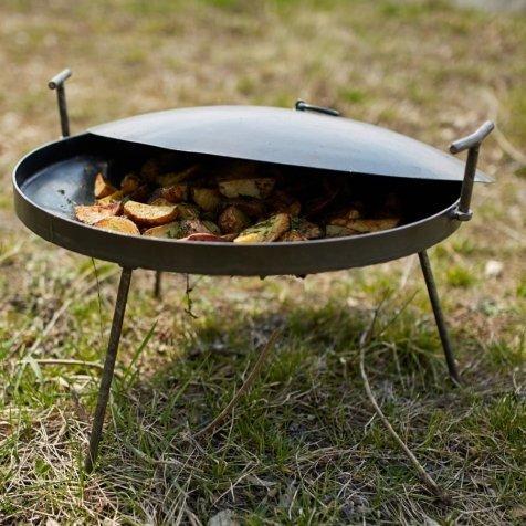 Сковорода из диска бороны 40см с крышкой для пикника рыбалки или отдыху на природе и дачи