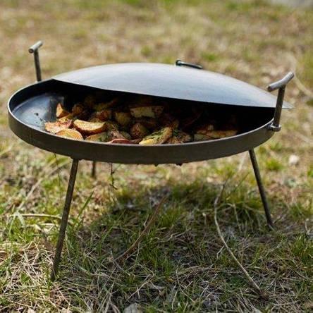 Сковорода из диска бороны 40см с крышкой для пикника рыбалки или отдыху на природе и дачи, фото 2