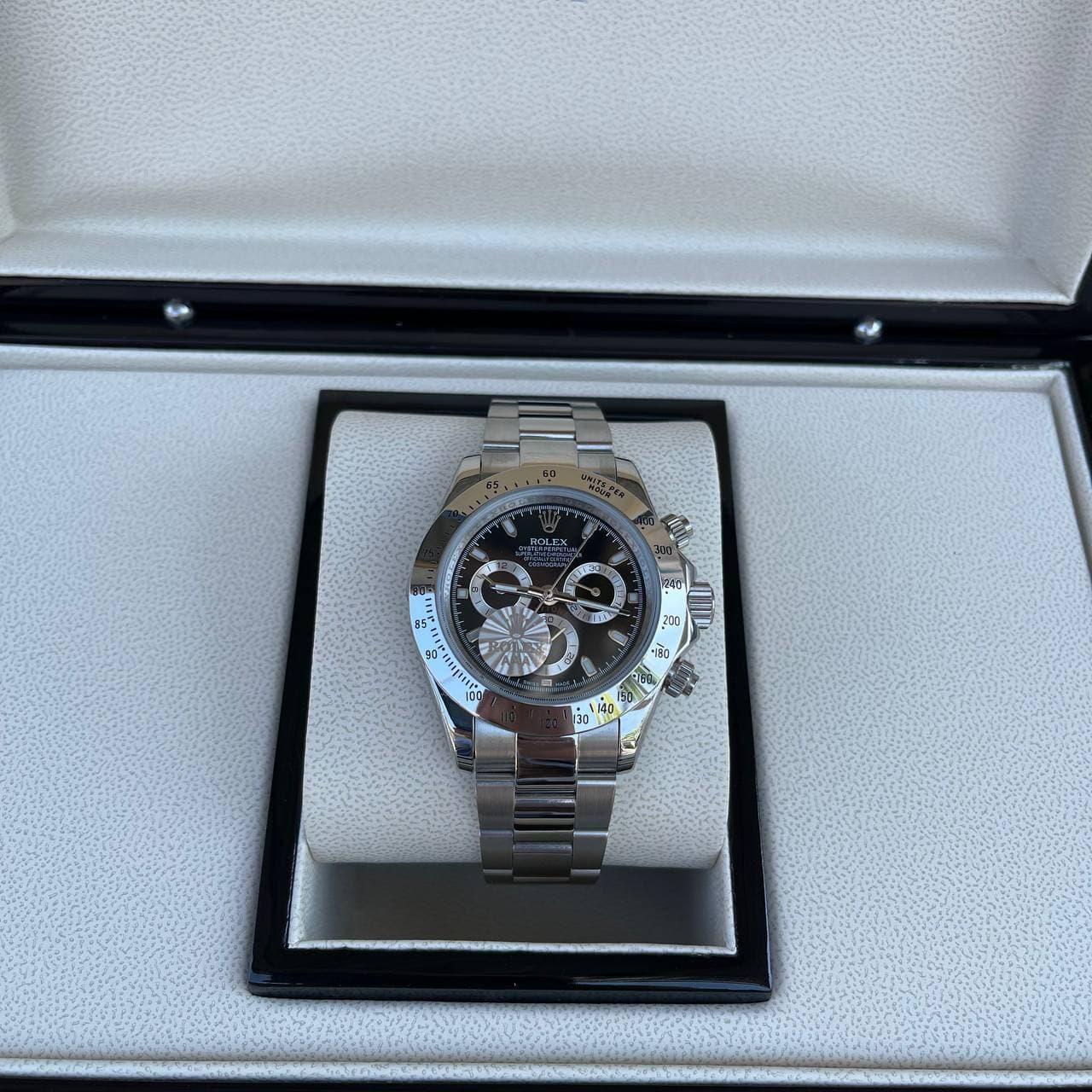 Годинники наручні Rolex Cosmograph Daytona AAA Silver-Black-Silver