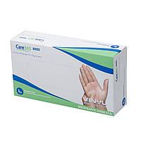 Перчатки виниловые размер L - Care365premium, неопудренные одноразовые перчатки виниловые медицинские