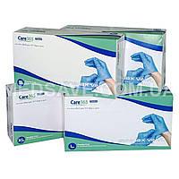 Перчатки виниловые голубые размеры M, L, XL - Care365premium, одноразовые виниловые неопудренные медицинские