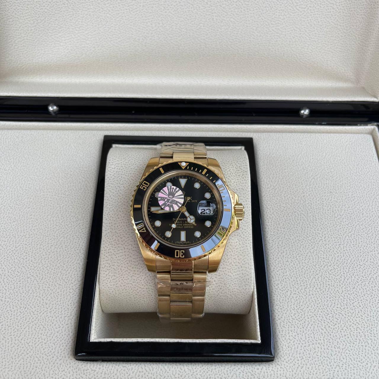 Годинник Rolex Submariner AAA Date Gold-Black преміального класу ААА