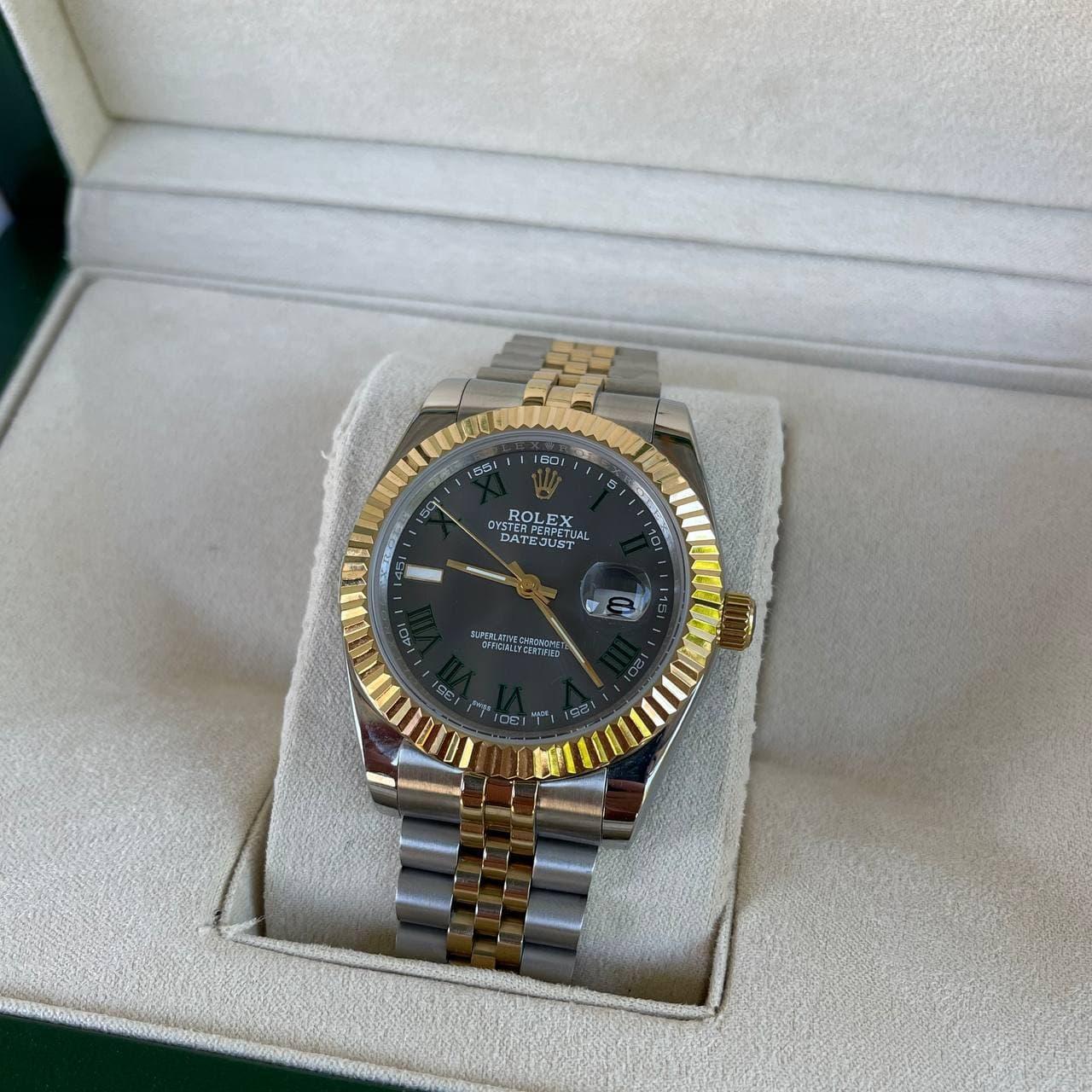 Часы Rolex Datejust Silver-Gold-Gray премиального ААА класса