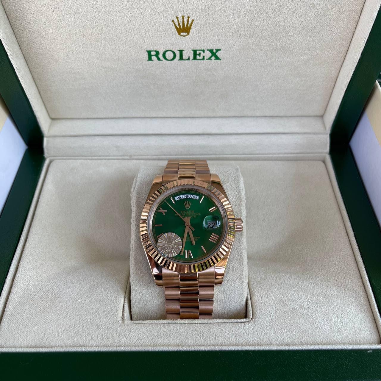 Часы Rolex Oyster Perpetual Gold-Green премиального ААА класса