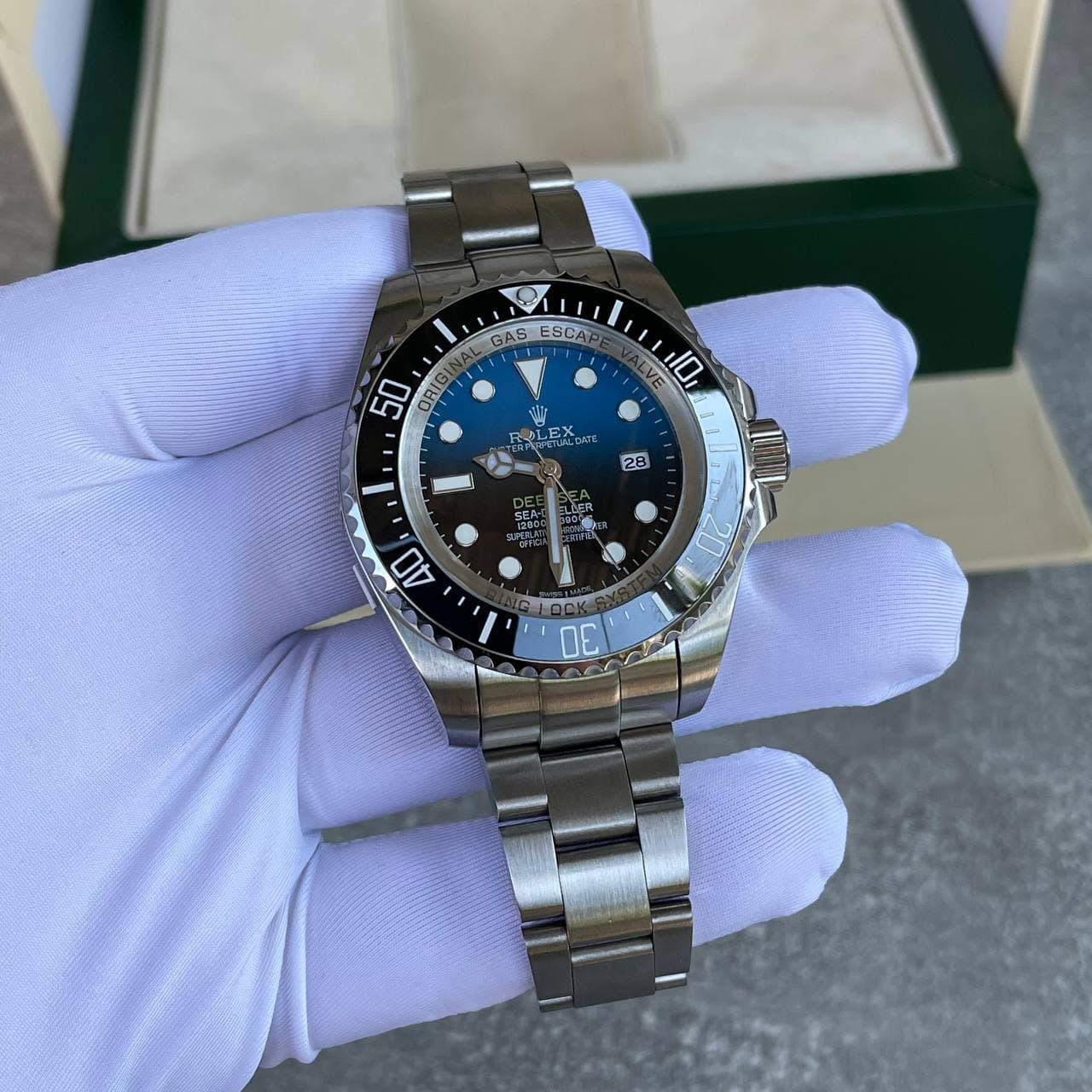 Наручний годинник Rolex Deepsea Sea-Dweller Silver-Black-Blue преміального класу ААА